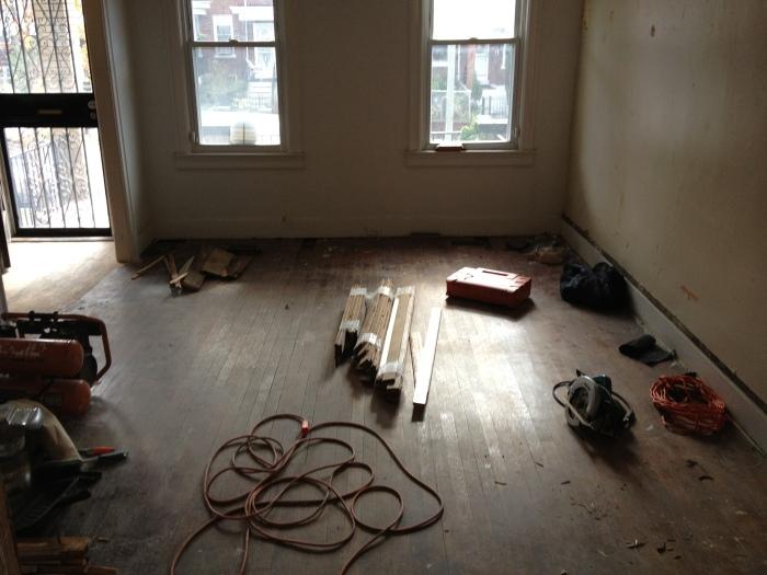 Work begins in living room