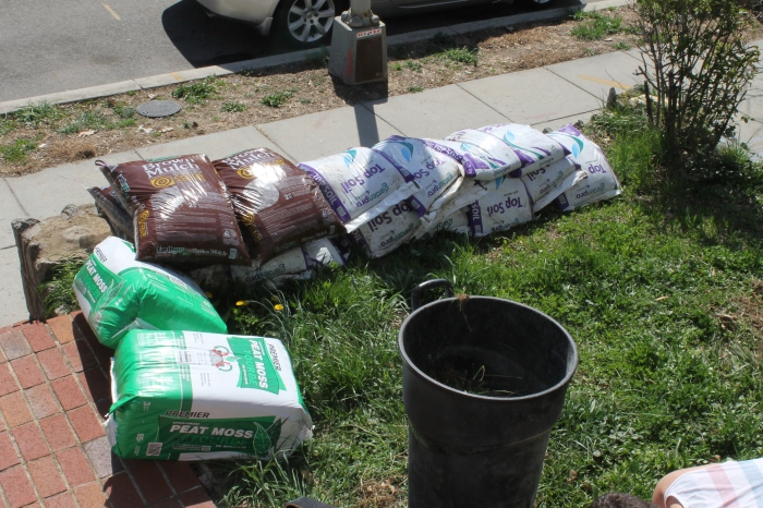 The first batch of mulch, soil and peat moss