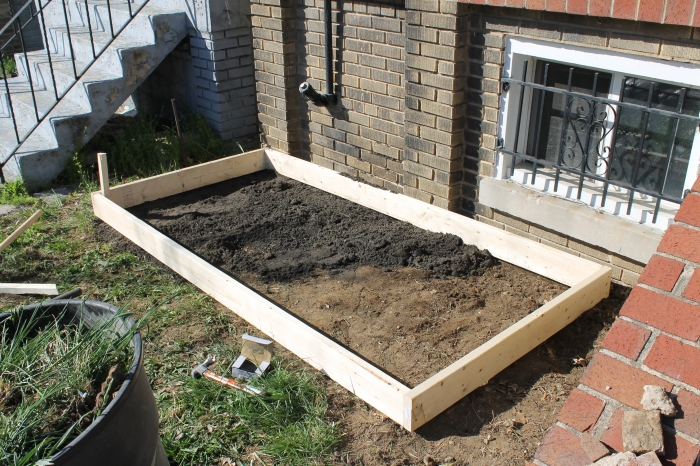 The base of the raised bed
