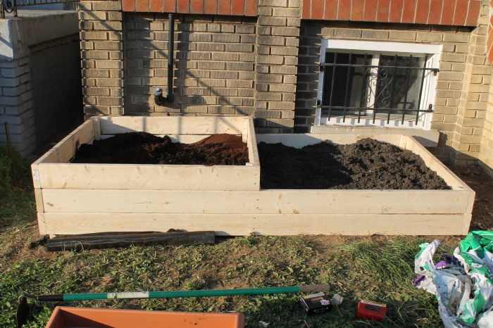 Filling the raised garden bed