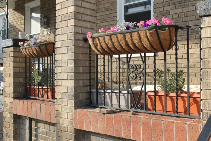 The new porch flower baskets