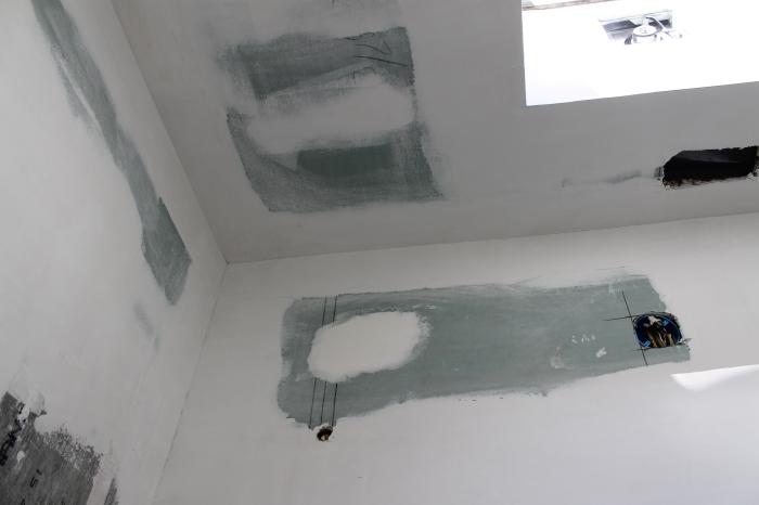 green board and bathroom ceiling