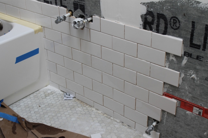 Tiling behind the sink
