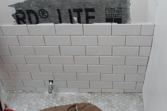 Tiling around the shower