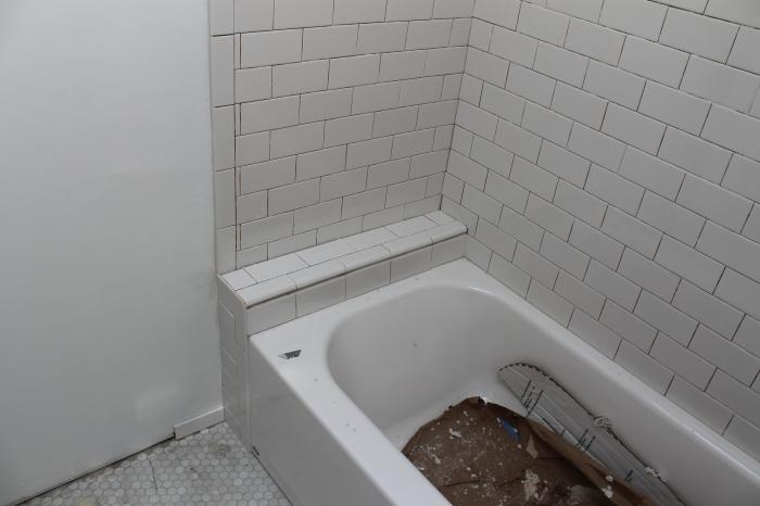 Finished shower shelf