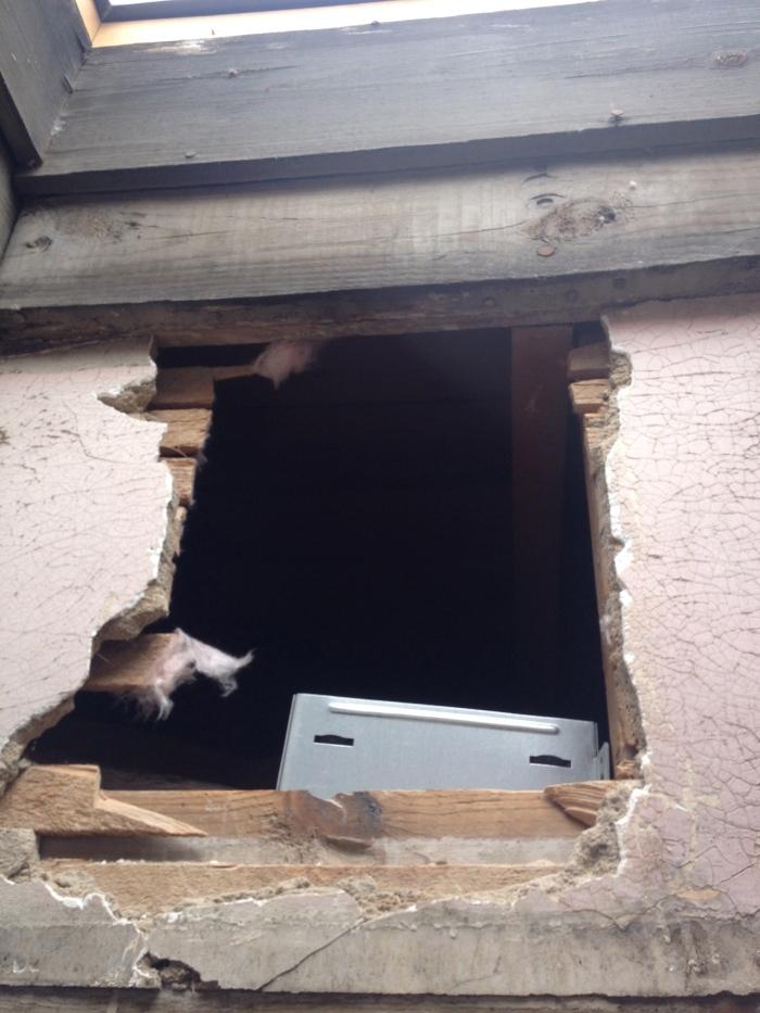 Hole for bathroom fan