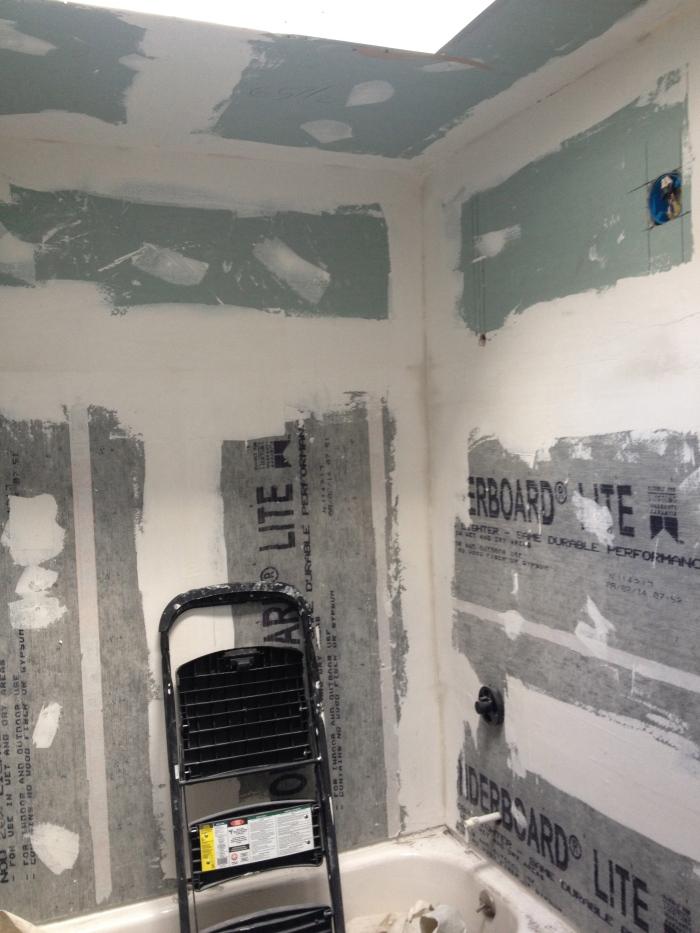 unfinished walls in bathroom